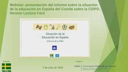 Informe sobre la situación de la educación en España del Comité de seguimiento de la Convención sobre los Derechos de las Personas con Discapacidad, en lectura fácil