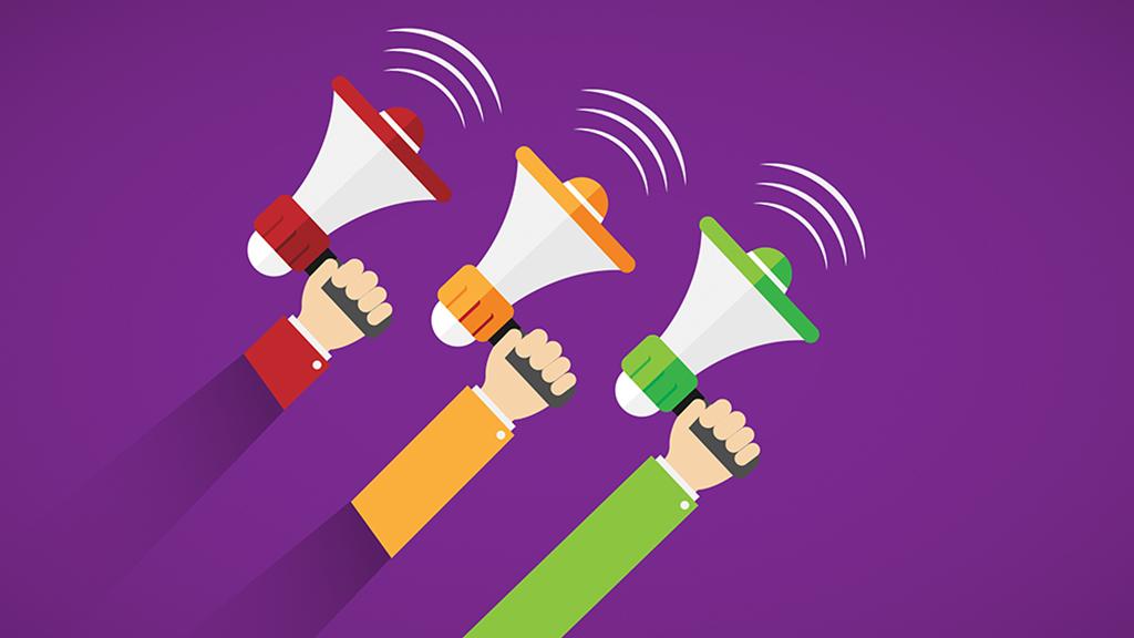 Ilustración de 3 manos sosteniendo un megáfono cada una