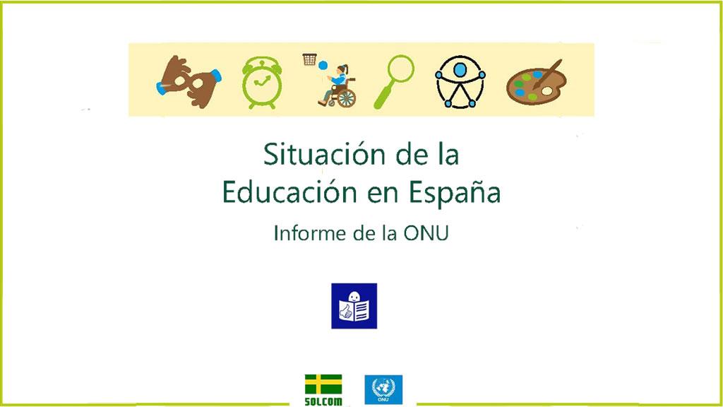 Portada del informe ONU sobre la Situación Educación en España